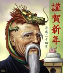 animal_on_head bald beard brown_eyes bust dated dragon eastern_dragon facial_hair horns japanese_clothes kagami_mochi looking_at_viewer male matataku minimized mustache new_year old_man original pig signature smile text wrinkled_skin yellow_eyes