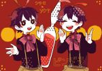 2boys ascot black_hair drawr happy male mawaru_penguindrum multiple_boys ribbon shirase_(mawaru_penguindrum) siblings souya_(mawaru_penguindrum) suspenders twins