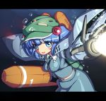 between_breasts blue_eyes blue_hair blush_stickers breasts bubble energy_beam erect_nipples gundam gundam_0080 hair_bobbles hair_ornament hat hygogg kawashiro_nitori key letterboxed mecha_musume navel open_mouth ruku_rx solo touhou twintails underwater