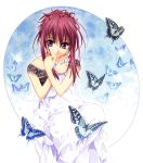 artist_request butterfly chikage_(sister_princess) dress highres purple_eyes purple_hair sister_princess smile solo tenhiro_naoto violet_eyes