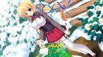 blonde_hair blue_eyes flower flowers game_cg kazamatsuri_mana manatsu_no_yoru_no_yuki_monogatari mikeou seifuku thigh-highs thighhighs twintails