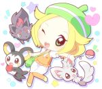 bel_(pokemon) blonde_hair chibi emolga food fruit green_eyes heart holding holding_apple holding_fruit minccino mirai_(sugar) open_mouth pantyhose poke_ball pokemon pokemon_(game) pokemon_black_and_white pokemon_bw smile star zorua