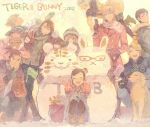 age_difference antonio_lopez arrow bad_id barnaby_brooks_jr bunny dog earmuffs father_and_daughter food fruit huang_baoling ivan_karelin john_(tiger_&_bunny) kaburagi_kaede kaburagi_muramasa kaburagi_t_kotetsu karina_lyle keith_goodman nathan_seymour new_year orange pale_color pale_colors pon_(cielo) rabbit snowman thumbs_up tiger tiger_&_bunny winter_clothes