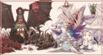 armor bamboo blood crossbreed_priscilla crystal dark_souls dragon eating everlasting_dragon food full_armor fur gaping_dragon hagoita highres horns kadomatsu kagami_mochi kite long_hair mochi new_year paddle praise_the_sun priscilla_the_crossbreed scythe seath_the_scaleless solaire_of_astora stone_dragon sun_(symbol) tail tail_wagging tatsuya_(artist) visor_(armor) wagashi weapon western_dragon white_hair wings