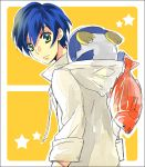 bird blue_hair fish green_eyes mawaru_penguindrum penguin penguin_2-gou short_hair takakura_shouma yuzuru86