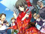 game_cg gun japanese_clothes long_hair obi ponytail sekisaba weapon wink