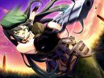 fingerless_gloves game_cg gun hat long_hair outdoors sekisaba solo weapon