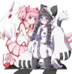akemi_homura animal_ears blazblue bow braid cat_ears cosplay glasses hair_bow kaname_madoka kneeling kyubey mahou_shoujo_madoka_magica multiple_girls pantyhose pink_eyes platinum_the_trinity platinum_the_trinity_(cosplay) red-framed_glasses saitou_chiwa seiyuu_connection seiyuu_joke short_twintails taokaka taokaka_(cosplay) twin_braids twintails yui_(imprinting) yuuki_aoi