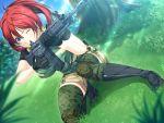 blue_eyes game_cg gun redhead sekisaba shorts thigh-highs weapon