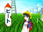 1girl backpack bag black_eyes blue_hair building child crowd dragonfly giba_ryan hair_over_eyes hat kune-kune monster nekojiru_udon original power_lines randoseru rice_paddy scarecrow school_hat short_sleeves short_twintails sign solo transmission_tower twintails when_you_see_it