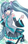 aqua_eyes aqua_hair bad_id boots detached_sleeves hatsune_miku headphones highres kneeling long_hair nail_polish necktie open_mouth skirt solo thigh-highs thigh_boots thighhighs twintails very_long_hair vocaloid