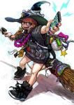 bag bandaid bespectacled broom glasses green_eyes hat highres jewelry jon_taira necklace pixiv_fantasia pixiv_fantasia_wizard_and_knight red_hair redhead shoes smartphone witch_hat