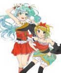 :q ahoge blonde_hair blue_eyes green_eyes green_hair hands_on_hips hatsune_miku highres jewelry kagamine_rin kneehighs multiple_girls nail_polish necklace nishiyama_(nicf) simple_background skirt thigh-highs thighhighs tongue twintails vocaloid white_background