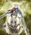 armor army barding battlefield chocobo cloak feathers final_fantasy gauntlets halberd highres knight nidoro polearm riding shield sword valkyrie weapon
