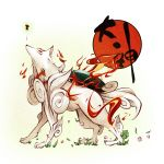 animal capcom highres issun kinakomoti okami ookami_(game) petals simple_background wolf
