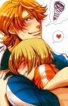 1girl ^_^ blonde_hair blue_eyes blush closed_eyes eyes_closed heart huang_baoling hug keith_goodman mozuwaka spoken_heart t-shirt tiger_&_bunny