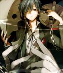 arisato_minato ayatoki-1 blue_hair chain chains evoker gun gun_to_head hair_over_one_eye male persona persona_3 ribbon school_uniform solo thanatos weapon