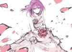 battle_spirits battle_spirits:_brave dress petals purple_eyes purple_hair shinomiya_mai smile solo tarou_(run) violet_eyes wedding_dress