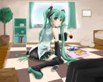 :3 arm_support bed boots checkered curtains detached_sleeves glass green_eyes green_hair hachune_miku hatsune_miku highres long_hair looking_back maszom mouth_hold pepsi plant playstation_portable potato_chips sitting skirt solo thigh-highs thigh_boots thighhighs twintails very_long_hair vocaloid wariza window