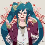 aqua_eyes aqua_hair bespectacled glasses hatsune_miku headphones listening_to_music looking_at_viewer momoiro_oji nail_polish open_mouth red-framed_glasses smile solo vocaloid