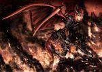 blood boots copyright_request dragon_girl dragon_tail dragon_wings fire gun hellshock horns monster_girl operator ruins shotgun tail weapon wings