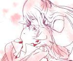 1girl bashin_dan battle_spirits battle_spirits:_brave closed_eyes couple eyes_closed forehead_kiss kiss long_hair monochrome shinomiya_mai short_hair tarou_(run)