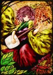 akasia bachi floral_background flower hair_flower hair_ornament hieda_no_akyuu instrument japanese_clothes kimono leaf looking_at_viewer obi playing_instrument plectrum purple_eyes purple_hair shamisen short_hair smile solo touhou violet_eyes wide_sleeves