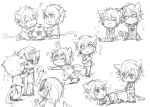 !? 6+boys anger_vein animal_ears bad_id ball cat_ears cat_tail chibi closed_eyes copyright_request eyes_closed fang glasses holding_another's_tail intertwined_tails monochrome multiple_boys musical_note short_hair sketch smile soccer_ball tail tail_grab tarou_(run)