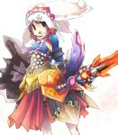 1girl lagombi_(armor) monster_hunter monster_hunter_3_g nargacuga_(armor) open_mouth simple_background smile solo sword toshiya weapon white_background