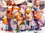 blue_hair breath brown_hair car closed_eyes coat eyes_closed friends hakuryuu_(inazuma_eleven) inazuma_eleven inazuma_eleven_(series) inazuma_eleven_go kariya_masaki matsukaze_tenma mocha_(mokaapolka) motor_vehicle nishizono_shinsuke open_mouth scarf short_hair smile snow sorano_aoi stalking street sunglasses tree tsurugi_kyousuke vehicle walking winter