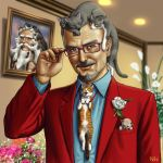 adjusting_glasses bald beard blue_eyes bust cat closed_eyes eyes_closed facial_hair flower frame glasses looking_at_viewer male matata-cat matataku monita_(matataku) mustache original photo_(object) picture realistic rose solo too_many_cats tuxedo what