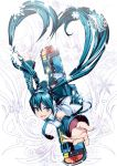aqua_eyes aqua_hair detached_sleeves earmuffs from_above hatsune_miku heart heart_hair highres long_hair looking_up necktie open_mouth oustretched_arm outstretched_arm skirt snowboard snowflakes solo thigh-highs thighhighs torigoe_takumi twintails very_long_hair vocaloid