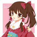 1girl alternate_costume brown_eyes brown_hair hair_ribbon hair_tubes hakurei_reimu japanese_clothes ribbon side_ponytail solo touhou yuiki_(cube)