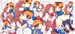 1girl blush bra brown_eyes brown_hair carrying cheek_kiss couple endou_mamoru headband highres inazuma_eleven inazuma_eleven_(series) inazuma_eleven_go kiss lingerie long_hair matsusaka_gyuu open_mouth princess_carry raimon_natsumi school_uniform short_hair track_suit underwear