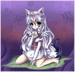 amaterasu animal_ears bare_shoulders barefoot breasts elbow_gloves facial_mark flower gloves grass hair_ornament highres japanese_clothes jewelry kanji kimono long_hair midna01 necklace obi okami ookami_(game) parted_lips personification purple_background red_eyes signature silver_hair sitting solo tail translated very_long_hair wolf_ears wolf_tail