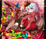 alternate_costume ankle_lace-up bat_wings birdcage blue_hair cage card clock cross-laced_footwear cup fang frills gathers gradient hat highres kuronohana nail_polish red_eyes remilia_scarlet short_hair smile solo teacup thighhighs touhou wings
