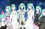 akimiya apple aqua_eyes aqua_hair bare_shoulders bass_guitar between_breasts black_dress breasts casual clock_lock_works_(vocaloid) closed_eyes dress eyelashes eyes_closed food frills fruit green_eyes green_hair grey_dress hatsune_miku headset holding holding_apple holding_fruit instrument last_night_good_night_(vocaloid) multiple_girls multiple_persona necktie piano_(agneschen) pink_dress ribbon rolling_girl_(vocaloid) romeo_to_cinderella_(vocaloid) shinkai_shoujo_(vocaloid) skirt sweater thigh-highs thighhighs vocaloid watermark web_address wet_hair white_dress world_is_mine_(vocaloid) zettai_ryouiki