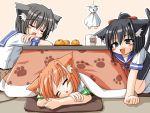 :d animal_ears artist_request black_hair cat_ears cup fang food fruit kotatsu mug open_mouth orange orange_hair ponytail school_uniform short_hair sleeping smile table tail