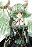 artist_request black_gloves brown_eyes choker dress elbow_gloves gloves green_hair green_wings hasegawa_yukino horns long_hair original short_hair smile staff white_background wings