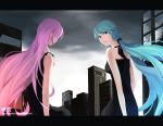 akimiya aqua_eyes aqua_hair black_dress cityscape dark_sky dress hatsune_miku letterboxed long_hair looking_back megurine_luka multiple_girls piano_(agneschen) pink_hair very_long_hair vocaloid watermark web_address world's_end_dancehall_(vocaloid) world's_end_dancehall_(vocaloid)