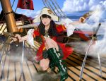 1girl black_hair boots flintlock gun hat highres katana lips long_hair nori_(910percent) one_knee pirate pirate_hat pistol ship solo sword weapon
