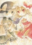 2girls ascot blonde_hair blouse flandre_scarlet green_eyes hat hat_ribbon head_to_head kagome_f komeiji_koishi looking_at_viewer mob_cap multiple_girls open_mouth red_eyes ribbon short_hair simple_background skirt skirt_set smile third_eye touhou traditional_media watercolor_(medium) white_background white_hair