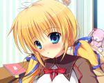 blonde_hair blue_eyes blush close game_cg kazamatsuri_mana manatsu_no_yoru_no_yuki_monogatari mikeou seifuku twintails