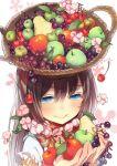 apple basket blue_eyes blush brown_hair cherry flower flower_necklace food fruit grapes holding holding_apple holding_fruit long_hair nicohi object_on_head original pear smile