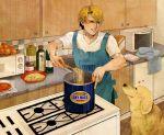 1boy apron blonde_hair blue_eyes cooking dog food john_(tiger_&_bunny) keith_goodman kitchen logo male oil pasta pot short_hair skr_tsunakan spaghetti tiger_&_bunny typo