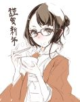 1girl bowl brown_eyes brown_hair chopsticks eating endou_okito food fur_trim glasses hair_bun hair_ornament hairclip holding japanese_clothes kimono new_year obi original red_nose sash short_hair simple_background solo white_background