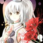 brown_eyes bust detached_sleeves flower hat japanese_clothes mononobe_no_futo ponytail ribbon semony short_hair silver_hair smile solo tate_eboshi touhou