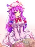 blush book bow breasts cleavage crescent dress flat_gaze hair_bow hat long_hair magic_circle patchouli_knowledge purple_eyes purple_hair sitting solo touhou violet_eyes yukinon