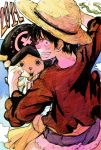 2011 2boys character_request cloud clouds dragon happy hat male monkey_d_luffy multiple_boys one_piece red_shirt reindeer sash scar sky sokusekimaou straw_hat striped stripes tony_tony_chopper