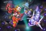 atlas battle box bubble cable crystal fish green_eyes gun ice lurerre open_mouth red_eyes robot rockman rockman_zx ultimatemaverickx underwater vent weapon